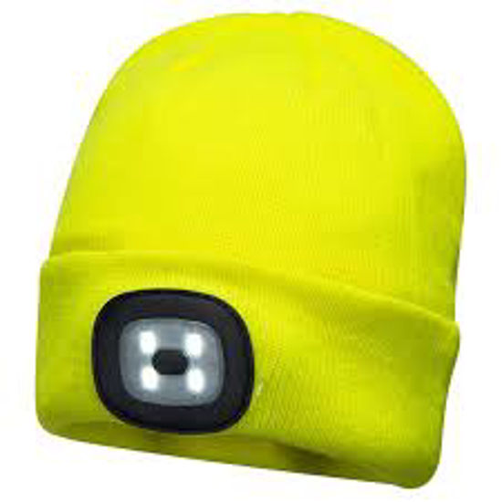 Picture of Portwest Beanie W/ LED Light, Yellow