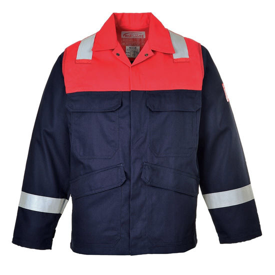 Picture of Portwest Bizflame Plus Jacket, Navy/Red