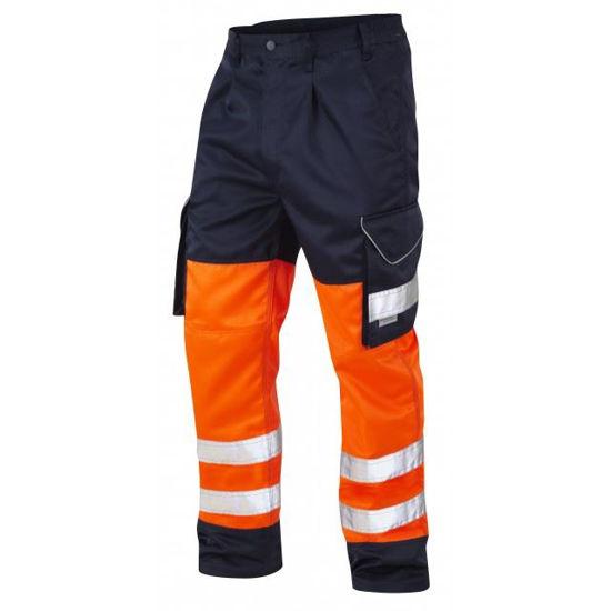 Picture of Leo Bideford Cargo Trousers, Orange/Navy