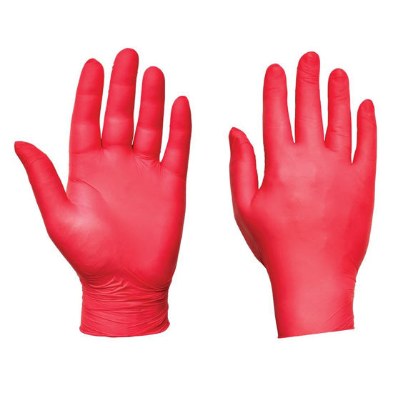 Picture of Nitrile Examination Gloves Red PF