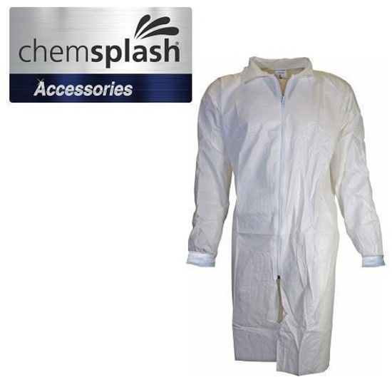 Picture of Chemsplash Knitted Cuff Labcoat, White, Type 5B & 6B PB Size: Large