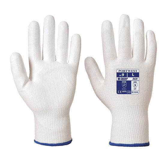 Picture of Portwest Cut 3 PU Palm Gloves, Grey Palm, Grey/White Back