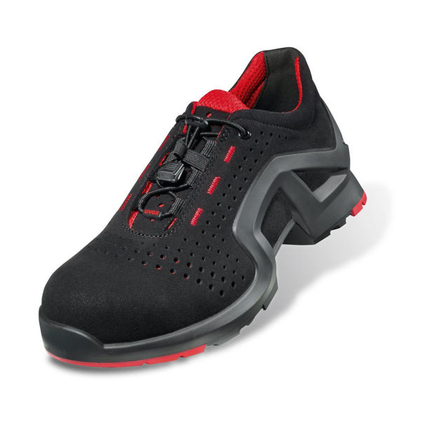 Picture of Uvex 1 Black Laced Trainer Shoe, Black/Red