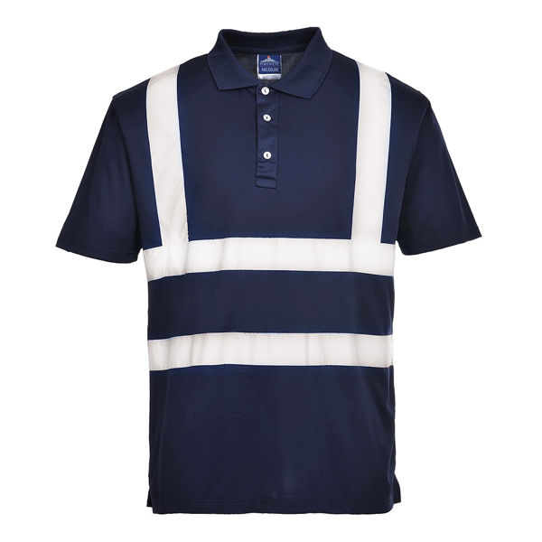 Picture of Portwest Iona Polo shirt, Navy W/Reflective Tape