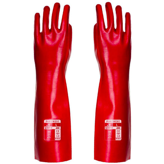 Picture of Portwest PVC Gauntlet, Red, Size XL