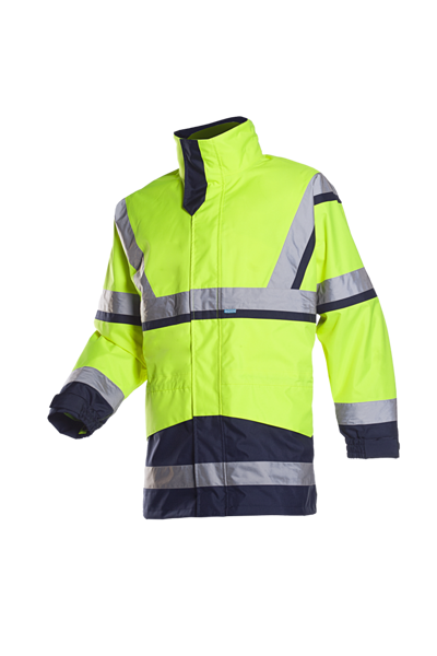 Picture of Sioen Powell Hivis Rain Jacket, Yellow/ Navy, Size S