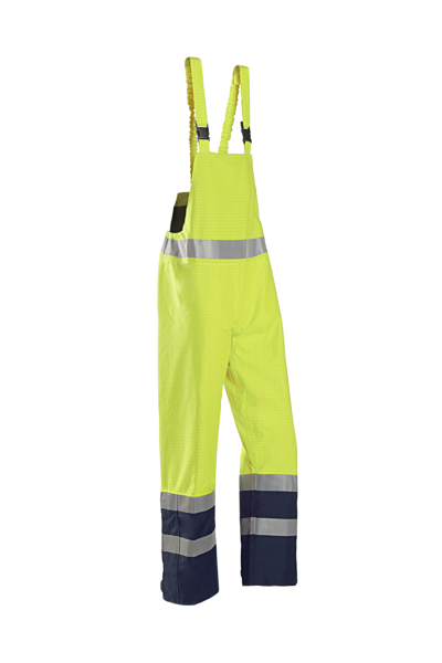 Picture of Sioen Brisbane FR Anti-Static Hivis Bib & Brace, Yellow/Navy