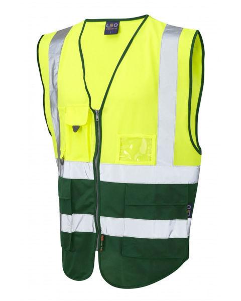 Picture of Lynton Hivis Zip Vest, Yellow/Bottle Green