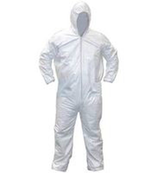 Laminated Type 5/6 Coveralls With Hood, White Size: 5XL