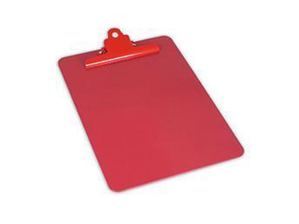 Stainless Steel Clipboard A4 Portrait, Metal Detectable, Red