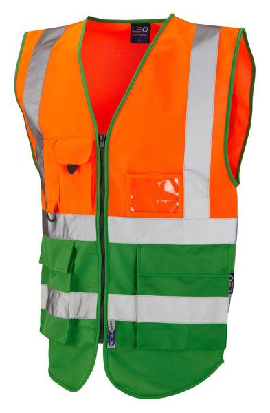 Picture of Lynton Class 1 Superior Waistcoat, Orange/Green