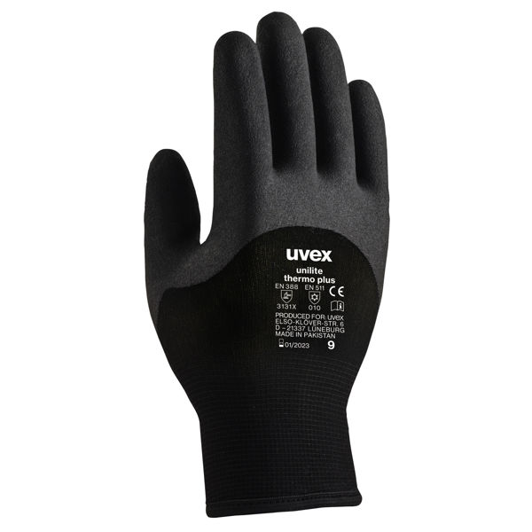 Picture of Uvex Unilite Thermo Plus Black Polymer Coated Gloves
