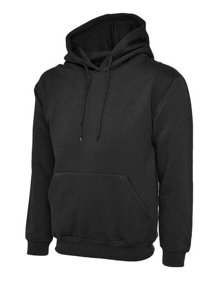 Uneek Classic Hooded Sweatshirt, Black