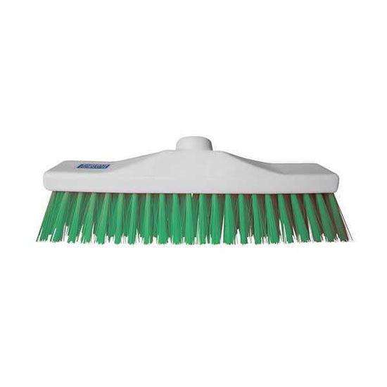 30cm Colour Coded Stiff Broom, Green