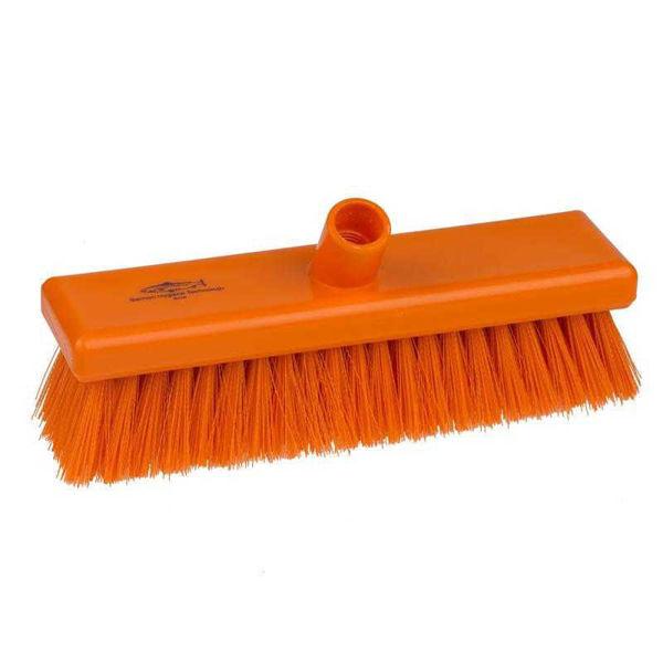 Medium Crimped 12 inch Flat Sweeping Broom, Orange