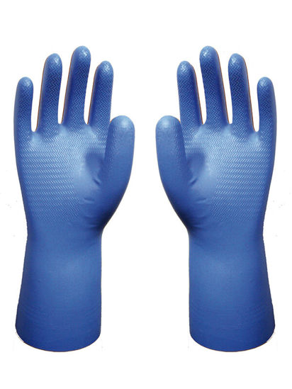 Picture of SHOWA BEST NITRI-DEX NITRILE GLOVES, FLOCK LINED, BLUE,  SIZE: SMALL/7