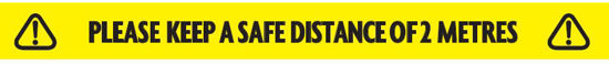 Picture of KEEP SAFE DISTANCE TAPE 2M, 48mm x 33mtrs, YELLOW, EACH