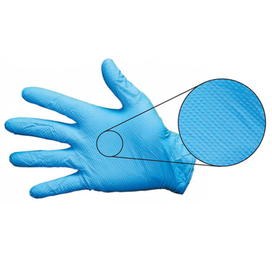 Picture of BODYTECH, BLUE NITRILE DIAMOND GRIP GLOVES SIZE:LARGE (6 mil) (S.6.2)