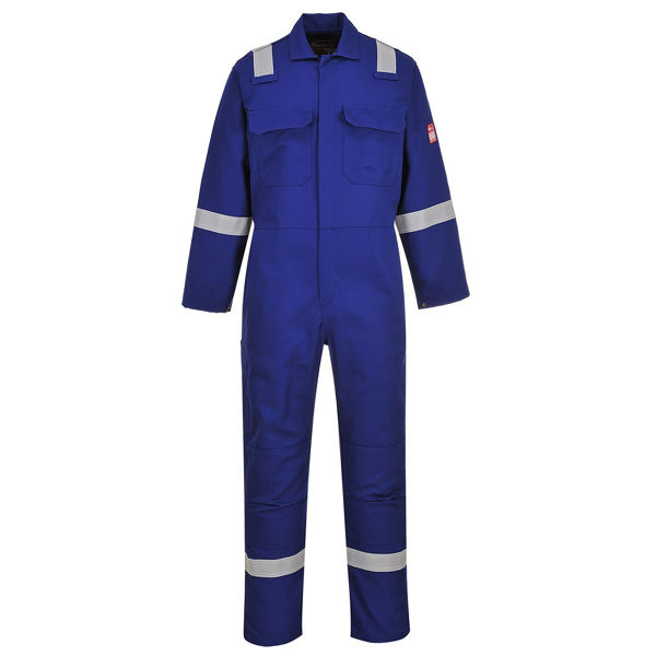 Picture of BIZWELD IONA FLAME RETARDANT COVERALL, ROYAL REFLECTIVE TAPE, SIZE:XLARGE