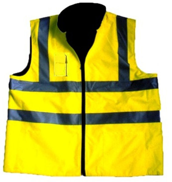 Picture of HIVIS REVERSIBLE BODYWARMER,YELLOW,BT(FLEECE) SIZE:SMALL