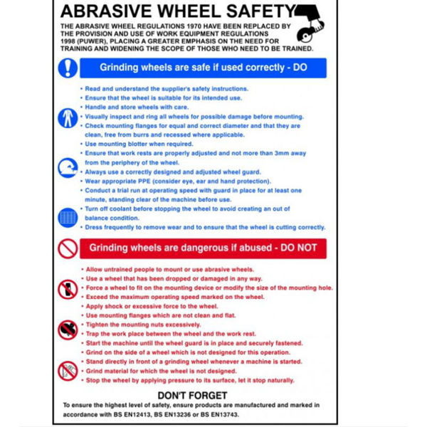 Picture of Safety Poster Abrasive Wheel, RPVC, 400 X 600mm,
