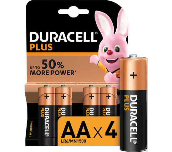Picture of Duracell Plus Power Alkaline AA Batteries, 4/Case