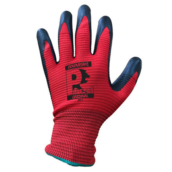 Picture of Pred Cardinal Nitrile Foam Ribbed Glove, Red/Black, Size 10