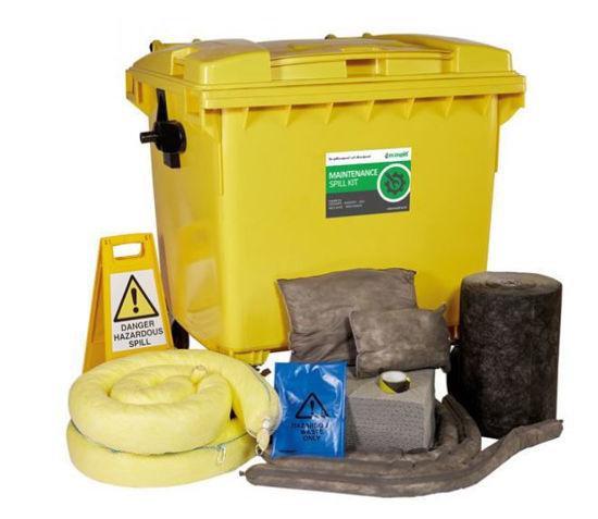 Picture of 1000L Maintenance Spill Response Kit   4 Wheel PE Bin