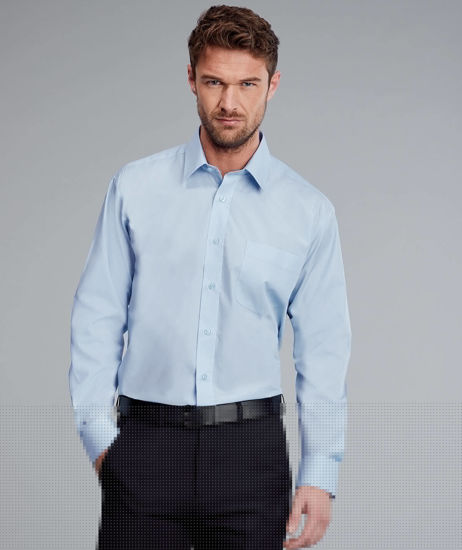 Picture of Disley Mens Classic Long Sleeve Shirt, Light Blue