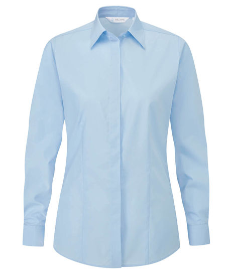 Picture of Disley Classic Long Sleeve Blouse, Blue, Size 10