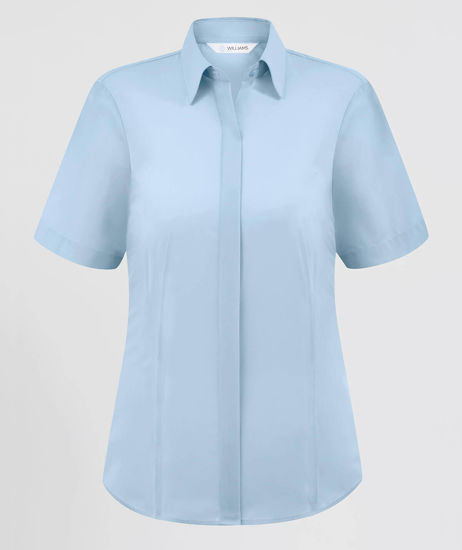 Picture of Disley Short Sleeve Ladies Fly Fronted Blouse, Blue, Size 12