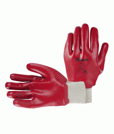 Picture of Red PVC Knit Wrist Glove, Size 10