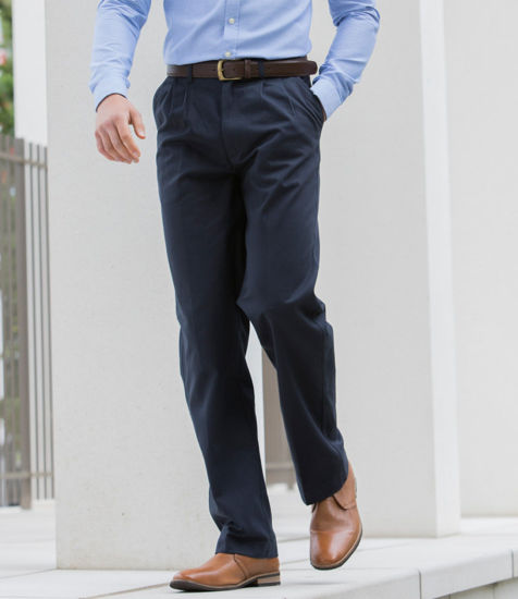 Picture of Front Pleat Chino Trousers, Navy