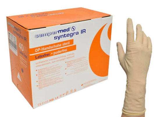 Picture of SEMPERMED SYNTEGRA IR LATEX FREE PF, SIZE 7.5 POLYISOPRENE SURGICAL CREME GLOVE 300/CASE,