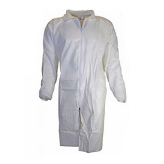 Picture of Chemsplash Knitted Cuff Labcoat, White, Type 5B & 6B PB